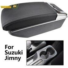 Repose-bras double en cuir pour Suzuki Jimny 2000 – 2017, 2005, 2007, 2009, 2011, 2013, 2015, boîte de rangement avec porte-gobelet