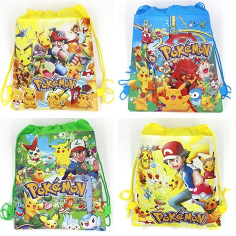1pc 27*36cm Pokemon Go Drawstring Backpack Non-Woven Fabric Loot Bag Gift Bag Pikachu Party For Kids Girl Birthday Decoration