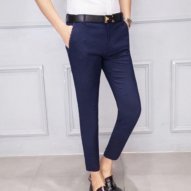 2016 Mens Capri Pants Casual Business Elegant Chinos Khaki Cotton ...