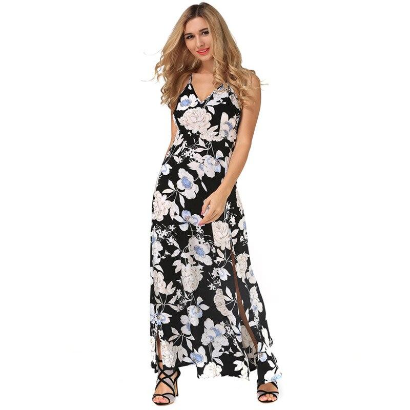 Buy Cheap New Casual Women Maxi Summer Dress Chiffon Print Vestidos V-Neck Womens Clothing Strap Off Shoulder Split Vintage Summer Dress