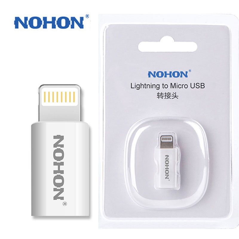 NOHON 8pin USB Adapter To Micro USB Charger For IPhone 8 7 6 6S Plus 5S 5C 5 IPad Mini Air IPod Quick Charge Data Sync Connector