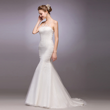 New Arrival long mermaid Wedding Dress lace appliques 2015 see through back button brides dresses vestido de noiva louisvuigon button through calico dress