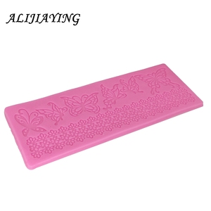 Image 4 - Hollow butterfly Flower Lace Mold Cake border Decoration tools Fondant Cake 3D Mold Food Grade Silicone mat Mould D0360