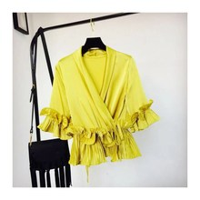 Fashion 2019 New Women Solid Casual V-Neck Chiffon Shirts Vintage Lace Up Ruffles Sleeve Blouses