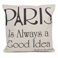 PARIS IS ALWAYS A GOOD IDEA Fashion letter linen Throw Pillow Cases Home Decora tive Cushion Cover Square 45cmX45cm