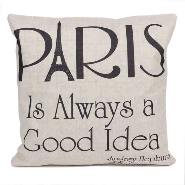 Paris Is Always A Good Idea Fashion Letter Linen Throw Pillow Cases