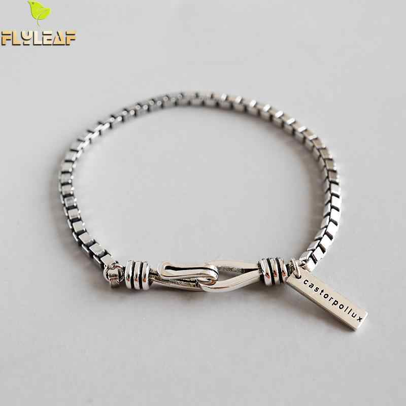 Flyleaf Do The Old Box Chain Bracelets For Women 2018 New Trend 100% 925 Sterling Silver Lady Vintage Style Jewelry