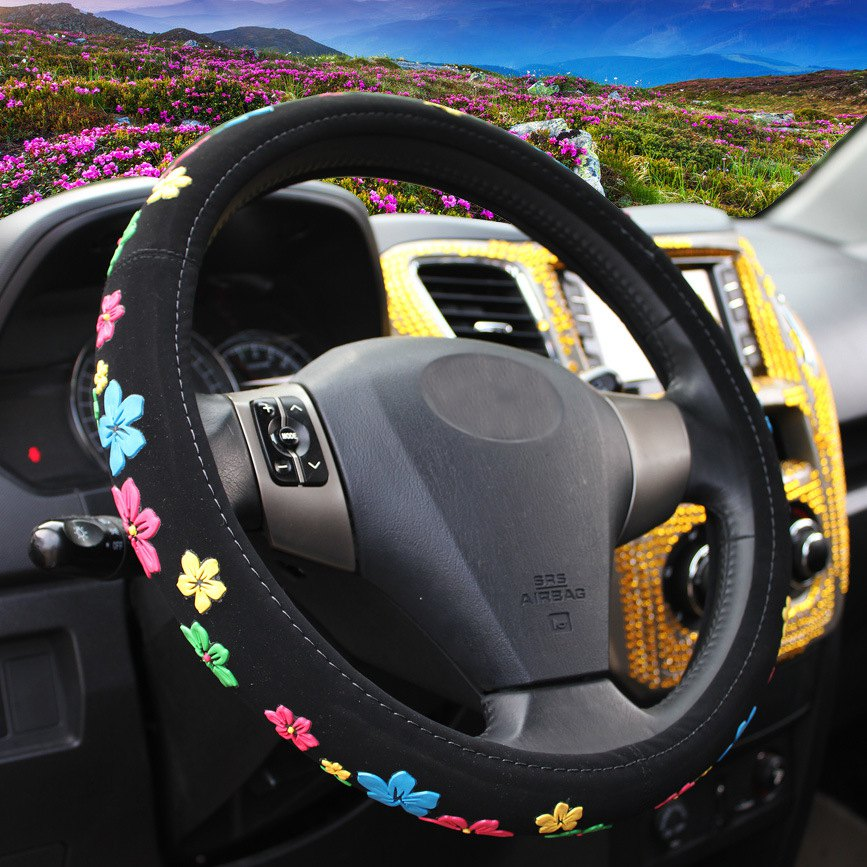 38cm Car Steering Wheel Cover Sets Steering Wheel Cover Black Cartoon Flowers Comfortable Cloth Universal 4 Season car silicone steering wheel cover black