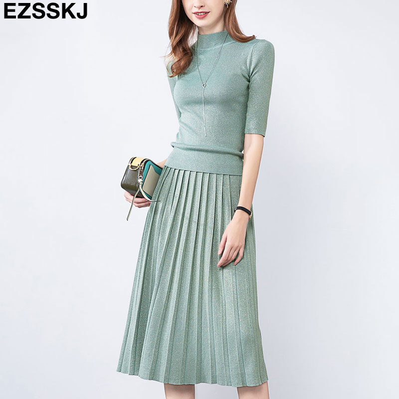Glitter Autumn Spring Women Elegant Sweater Pullover + Pleated Skirt 2 Piece Set Shiny Knitted Midi Dress Slim Sweater Suit