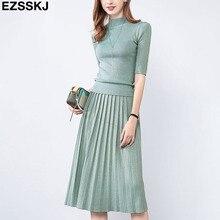 Glitter Autumn spring Women elegant Sweater Pullover + Pleated skirt 2 piece set shiny Knitted midi dress Slim sweater suit