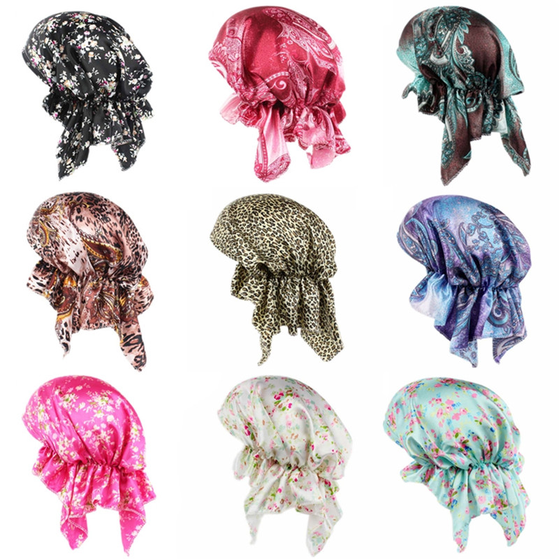 New Fashion Satin Stretch Turban Hat for Women Chemo Hair Loss Bonnet Cap Animal Pattern Head Wrap Cover 10 Colors chemo skullies satin cap bandana wrap cancer hat cap chemo slip on bonnet 10 colors 10pcs lot free ship
