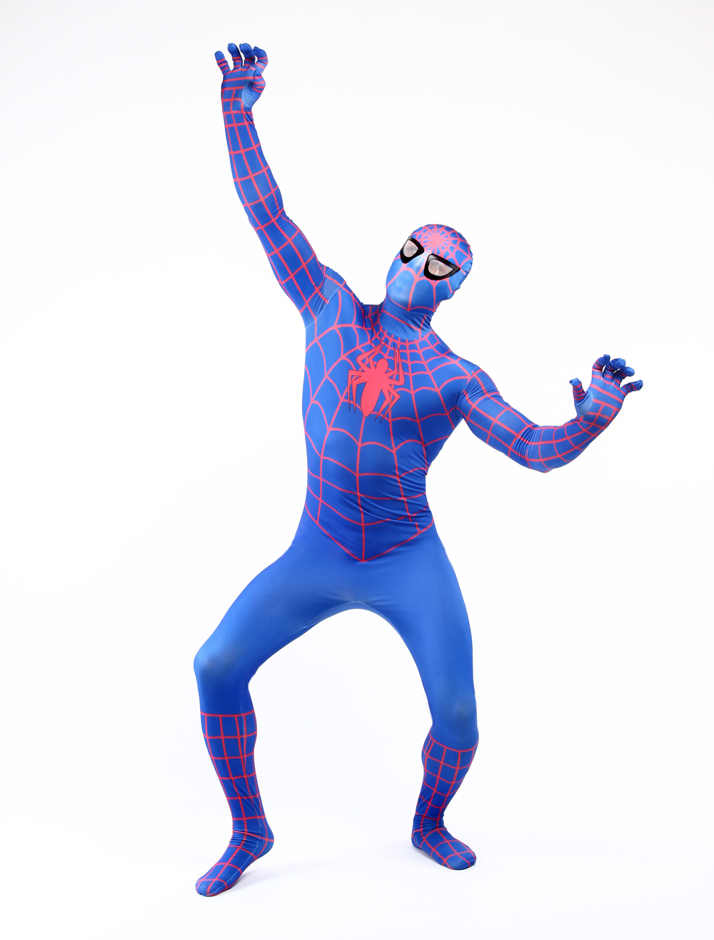 Purim costume Adult Men Comic Spiderman Bodysuit Spider Jumpsuit Breathable Zentai Catsuit for Halloween Cosplay