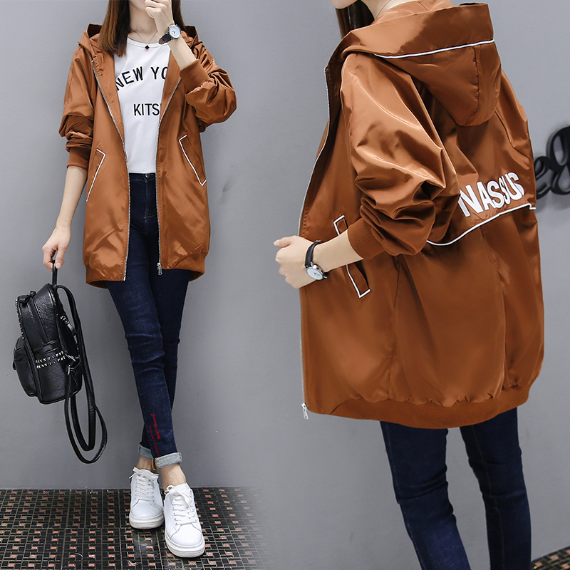 Female Windbreaker Coat 2019 New Fashion Hooded Long Outerwear Loose Large Size Spring Autumn Women Trench Baseball Uniform Coat