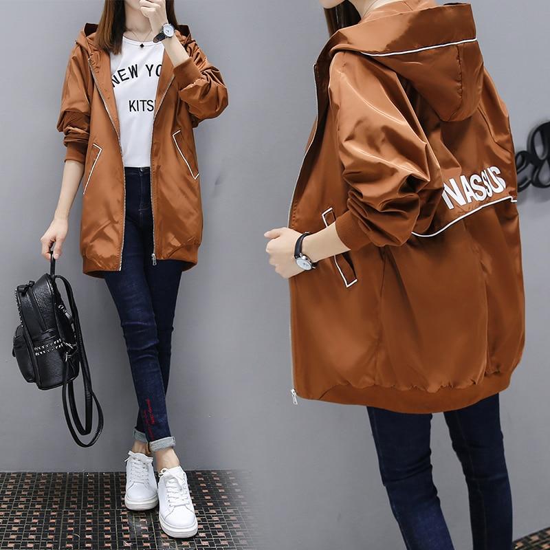Female Windbreaker Coat 2019 New Fashion Hooded Long Outerwear Loose Large Size Spring Autumn Women Trench Baseball Uniform Coat