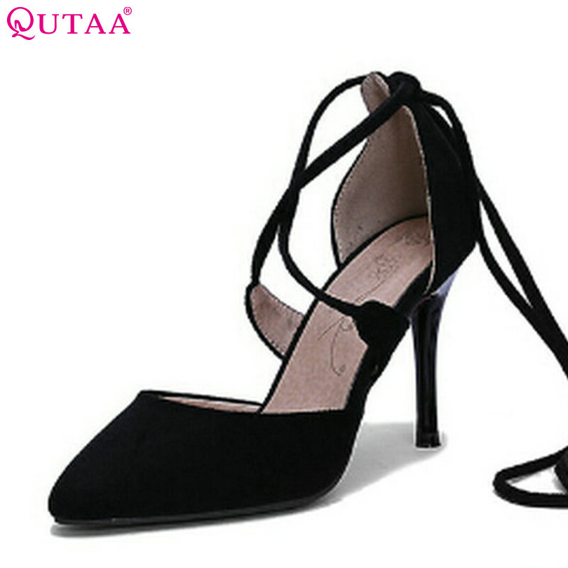 QUTAA Ladies Summer Shoes Thin High Heel PU leather Pointed Toe Platform Woman Pumps Lace Up Ladies Wedding Shoe Size 34-43 plus size 11 12 black pointed toe wedding women shoes summer office ladies work shoes thin high heel pu leather woman pumps