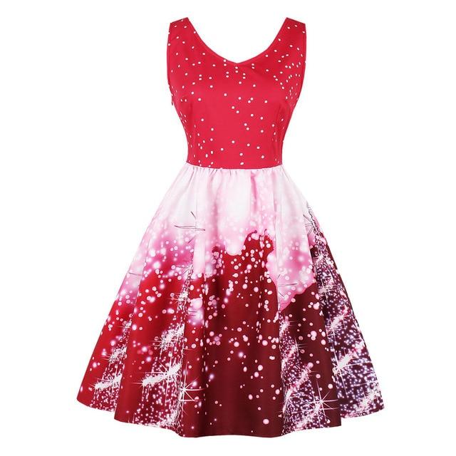 HeyGalSing Winter Floral Snow Print Christmas Dress Sexy Sleeveless ...