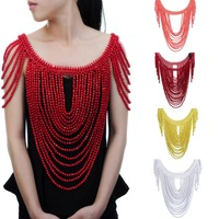 Fashion Jewelry Vintage Statement Body Shoulder Bib Full Resin Beads Necklace Female Collar Shoulder Chain Long Women collares