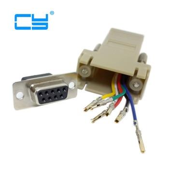 RS232 d-sub 9pin prolongador hembra a Lan Cat5 Cat5e RJ45 adaptador Ethernet hembra Color Beige