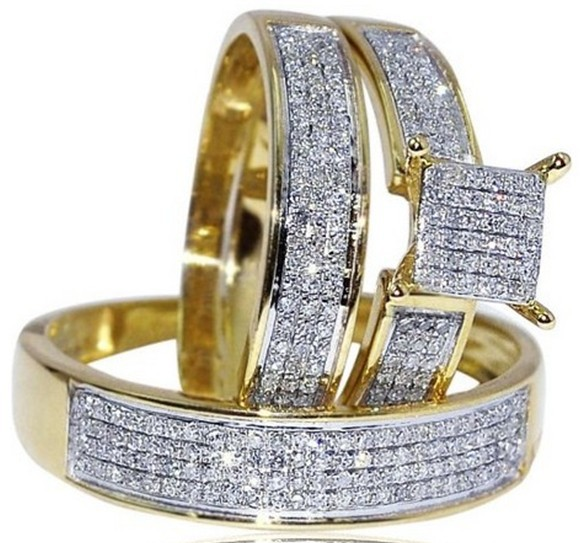 Real Yellow Gold Fantacy Wedding Set Men Women Rings Real