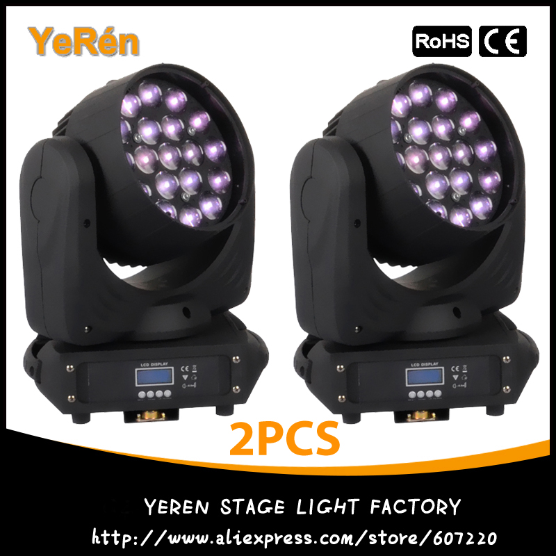 (2PCS) Led Zoom Moving Head Light 19*12W RGBW DMX 16CHs Professional Stage Lighting Equipment