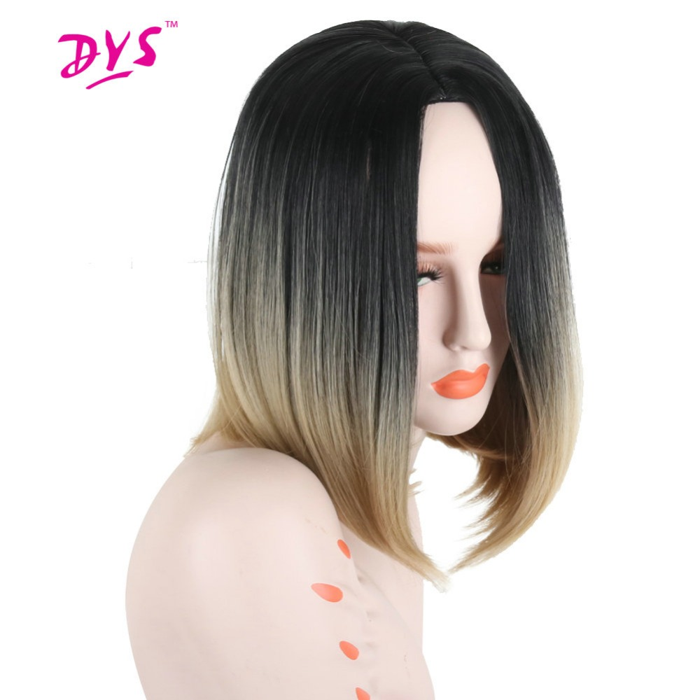 Deyngs Peluca Short Bob Wigs For Black Women 14inch Middle Part Pixie Cut Ombre Dark Root Natural Synthetic None Lace Hair Wigs
