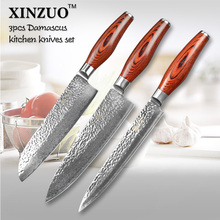 XINZUO 3 pcs kitchen knife set Japanese VG10 Damascus kitchen knife set cleaver chef hammer striae forging wood free shipping