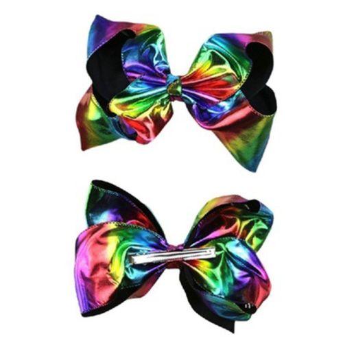 Kid Headwear Rainbow Hair Bow Leather Bowknot Hairpi Explosion Tie Dye On Aliexpress Alibaba Group