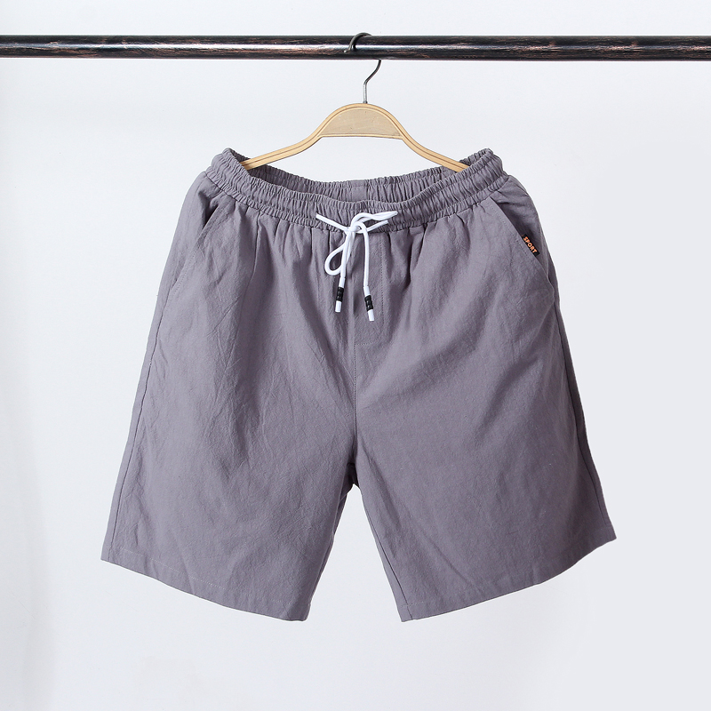 NEW 2020 Summer Thin Quick Drying Active Elastic Waist Drawstring Solid Color Shorts Cotton Men Loose Leisure Beach Shorts 5XL