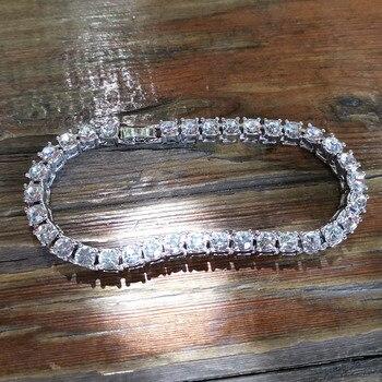 Hip hop Bling Iced Out Cubic Zirconia Bracelet Tennis Chain Bracelets 2