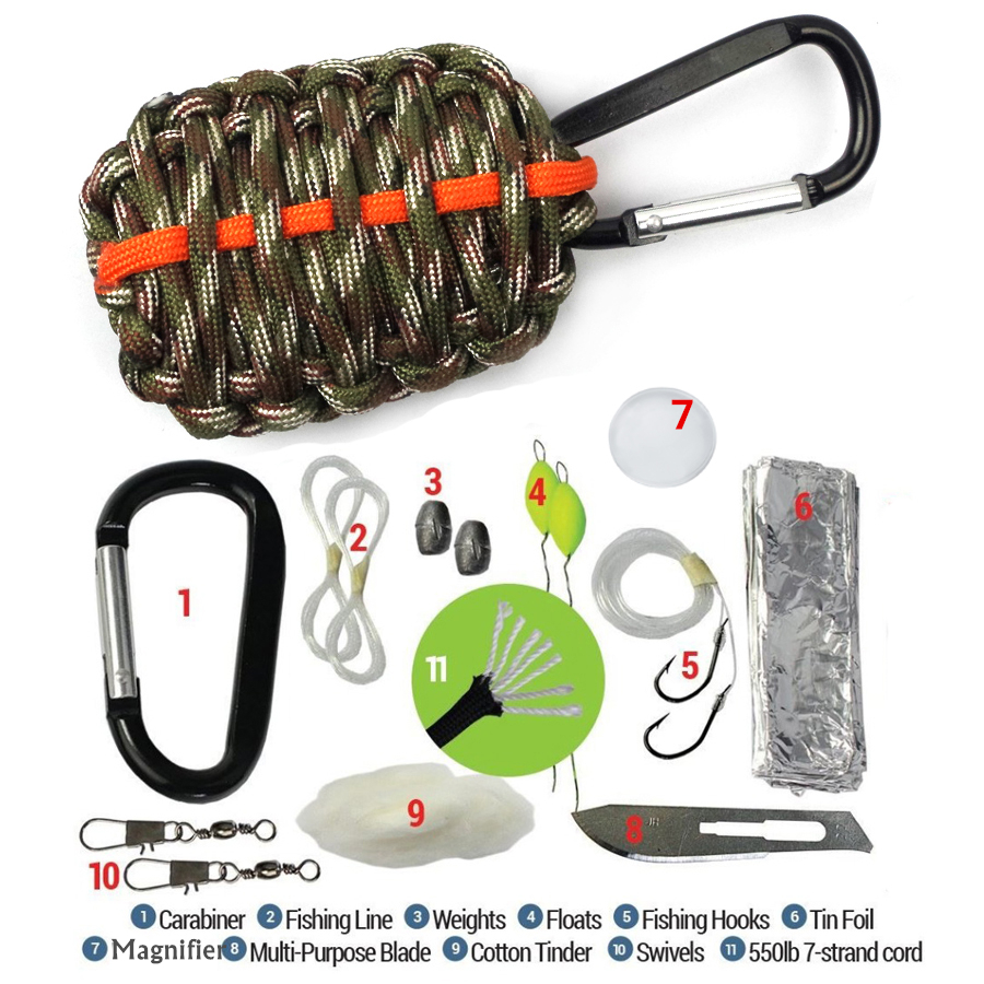 EDC GEAR Survival Cord 550 Paracord Fishing Tools Magnifier Carabiner Grenade Survival Kit Emergency Outdoor Tools