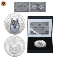 WR 2 Dollars Silver Plated Challenge Coin Vintage Home Decor Colored Wolf Silver Coins Collectibles Replica