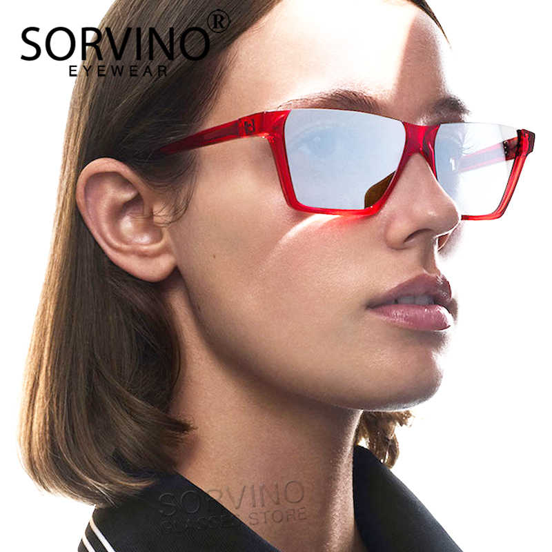 975a06fbd3da3 SORVINO Vintage Half Frame Square Sunglasses Men Women 2018 Brand Designer  Flat Top Mirror 90s Sun