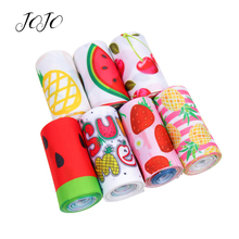 JOJO BOWS 75mm 2y Grosgrain Stain Ribbon Printed Colored Fruits Summer Style Gift Card Wrapping Supplies DIY Hair Bows Materials