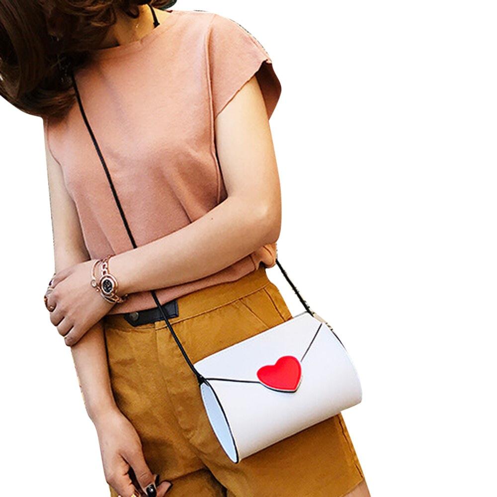 Women Leather Handbag Bag Peach Heart Water Tank Shoulder Diagonal Package A2000