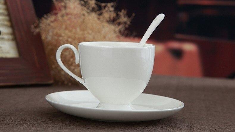 Free Shipping 240ml Plain White Bone China Coffee Teacups