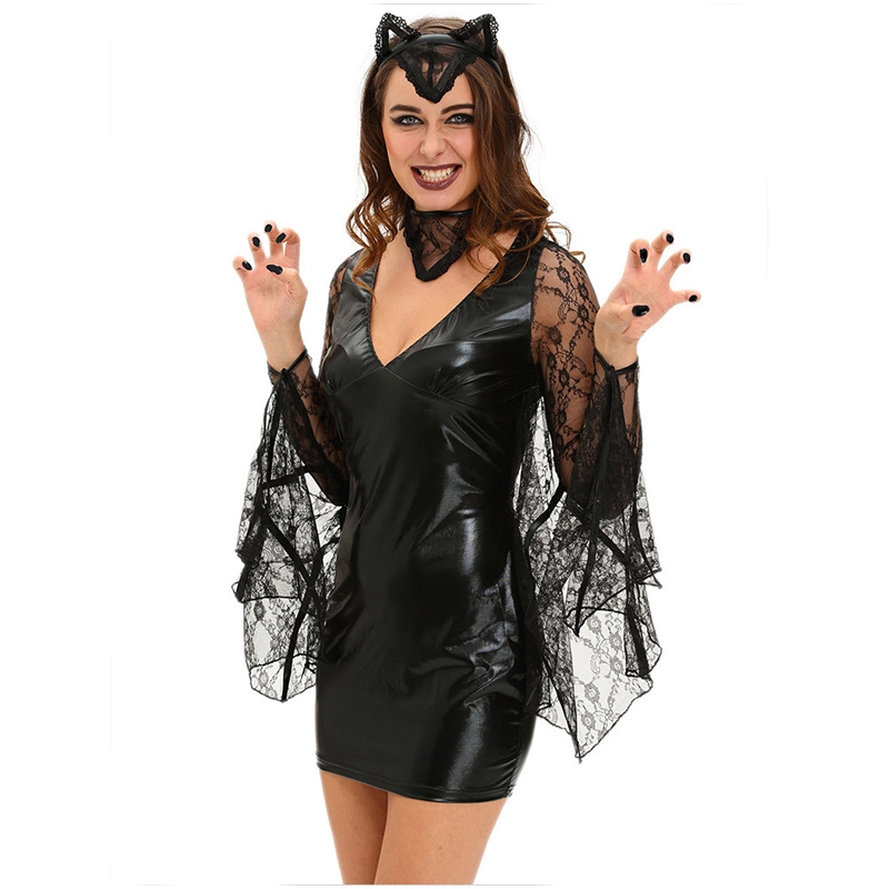 ff8910b24 Black Transparent Lace   PVC Sexy Vampire Costume Women Halloween Fancy  Dress Role Playing Outfits Carnival Costumes For Adults-in Sexy Costumes  from ...
