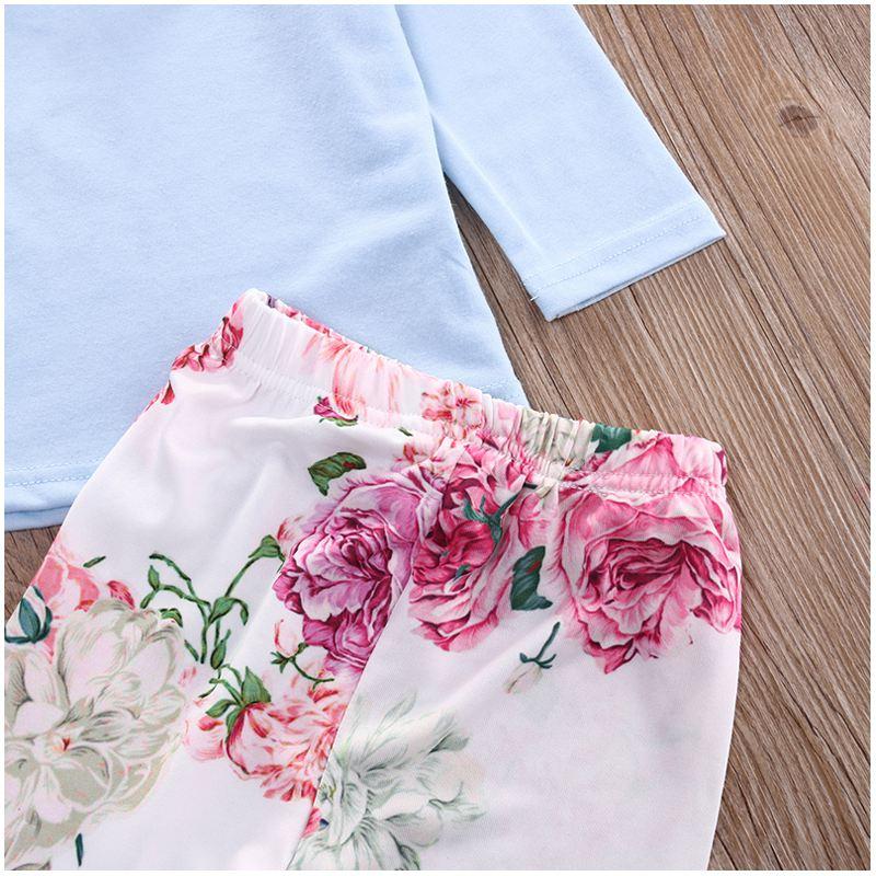 KEOL Best Sale Cute Toddler Kids Baby Girls Outfits Tops T-shirt+Floral Pants Headband 3Pcs Set Colors:Blue Size:12-24 Months