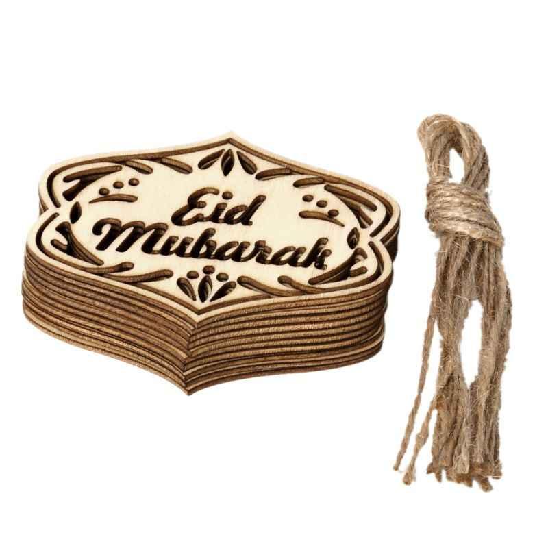 10pcs Set DIY Eid Mubarak Muslim Home Decoration Ramadan Decor Pendant Wooden Hollow Ornament Crafts