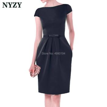 Vestido Robe Cocktail Dresses 2019 NYZY C155B Elegant Boat Neck Pocket Black Satin Dress for Wedding Party Homecoming Graduation
