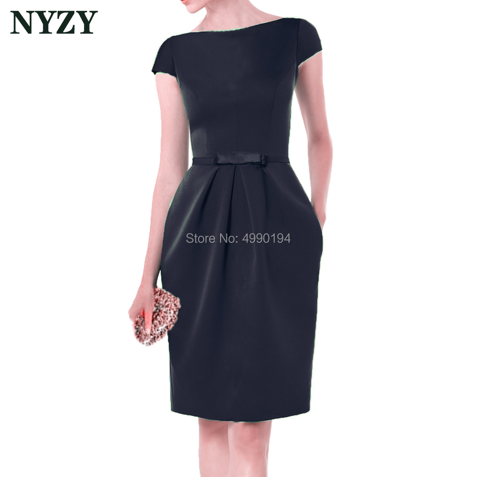 Vestido Robe   Cocktail     Dresses   2019 NYZY C155B Elegant Boat Neck Pocket Black Satin   Dress   for Wedding Party Homecoming Graduation
