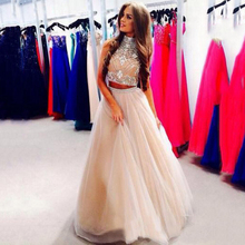 2016 Sexy Two Pieces Prom Dresses High Neck Beaded Top Champagne Tulle Floor Length Formal Party Evening Gowns