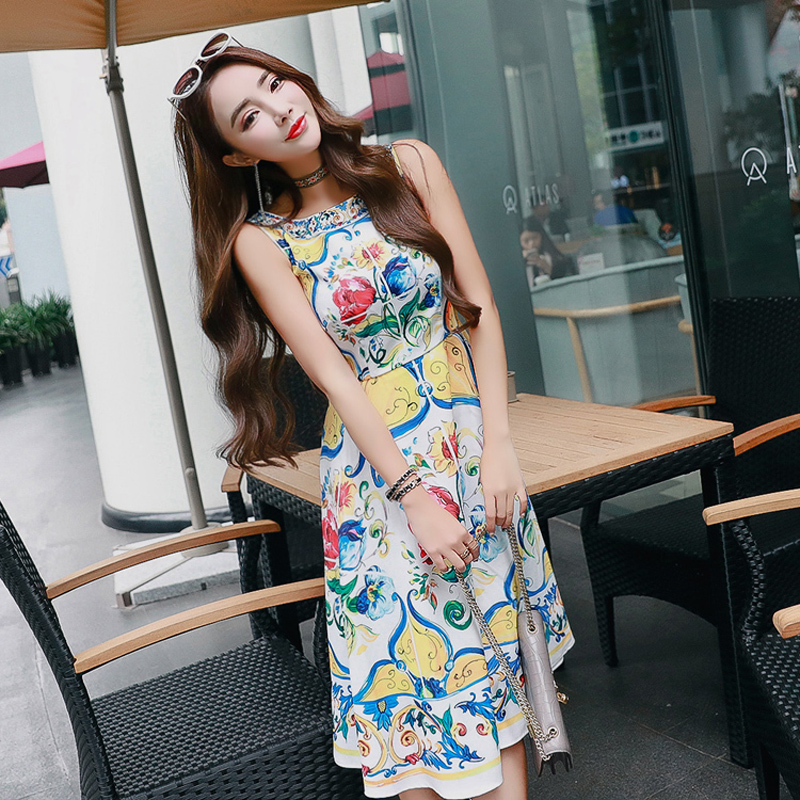 High Quality New Milan Catwalk Runway 2018 Summer Women'S Fashion Party Travel Boho Beach Printed Baroque Sleeveless Vest Dress