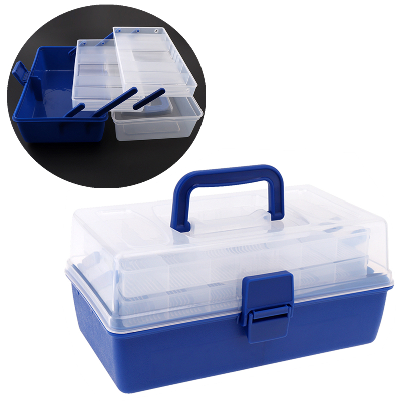 Portable 3 Layers 30*18*15cm Fishing Tool Case Big Multifunctional Strong Plastic Fishing Box