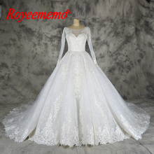 Royeememo lace church wedding dress gown royal train