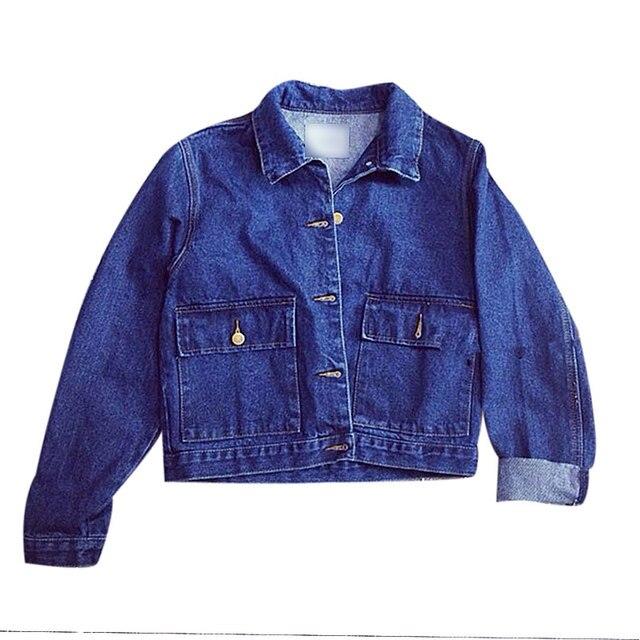 Autumn 2017 New Fashion Bomber Denim Jacket Long Sleeved Women Basic Coats Single Breasted Chaquetas Mujer Street Women Jacket