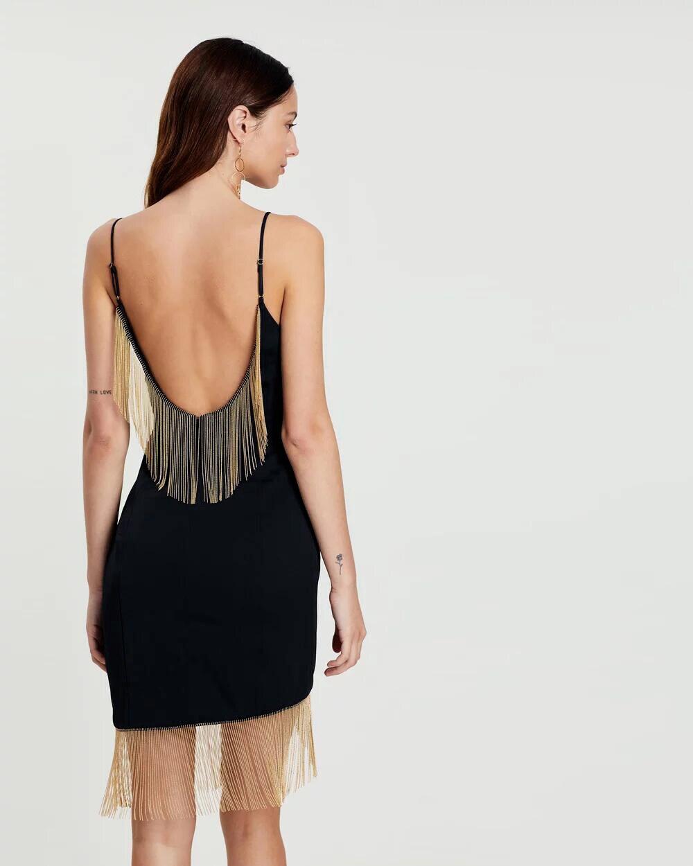 Luxe Deavogy Club Soirée Dos Noir Robe 2019 Femmes Nu Lacée Gland Partie Nouvelle Sangle Célébrité Sexy De w64tqnx6rv