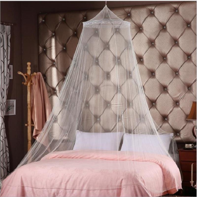 Универзални елегантни округли чипкани кревет од инсеката, надстрешница завјеса Купола од полиестера постељина склопива кружна вјешалица