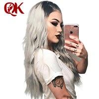 Queenking волос Синтетические волосы на кружеве парик 130% плотность Ombre T1B серый шелковистая прямая предварительно выщипать волосяного покрова