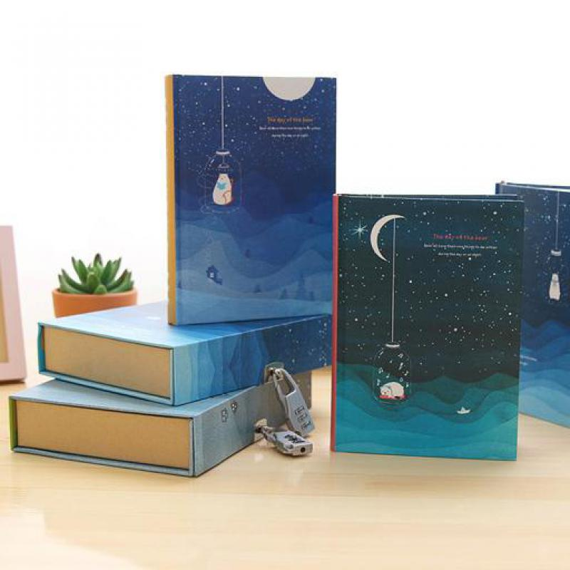 Listen Starry Sky Diary With Lock Retro Note Book Boxed Notebook With Weekly Plan Grid Paper School Kid Girls Gift Stationery deli new 1pc notebook korea cute stationery european retro paper cover diy a diary book cute notebook vintage weekly notebook