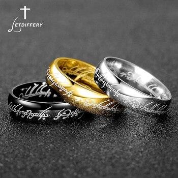 Letdiffery Magic Señor de un anillo 6mm oro negro Acero inoxidable encantos mujeres hombres compromiso joyería regalos